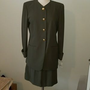 Womens olive suit jacket with skirt set size 10